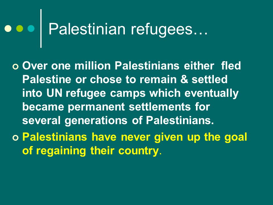 Palestinian refugees… Over one million Palestinians either fled Palestine or chose to remain & settled into UN refugee camps which eventually became permanent settlements for several generations of Palestinians.