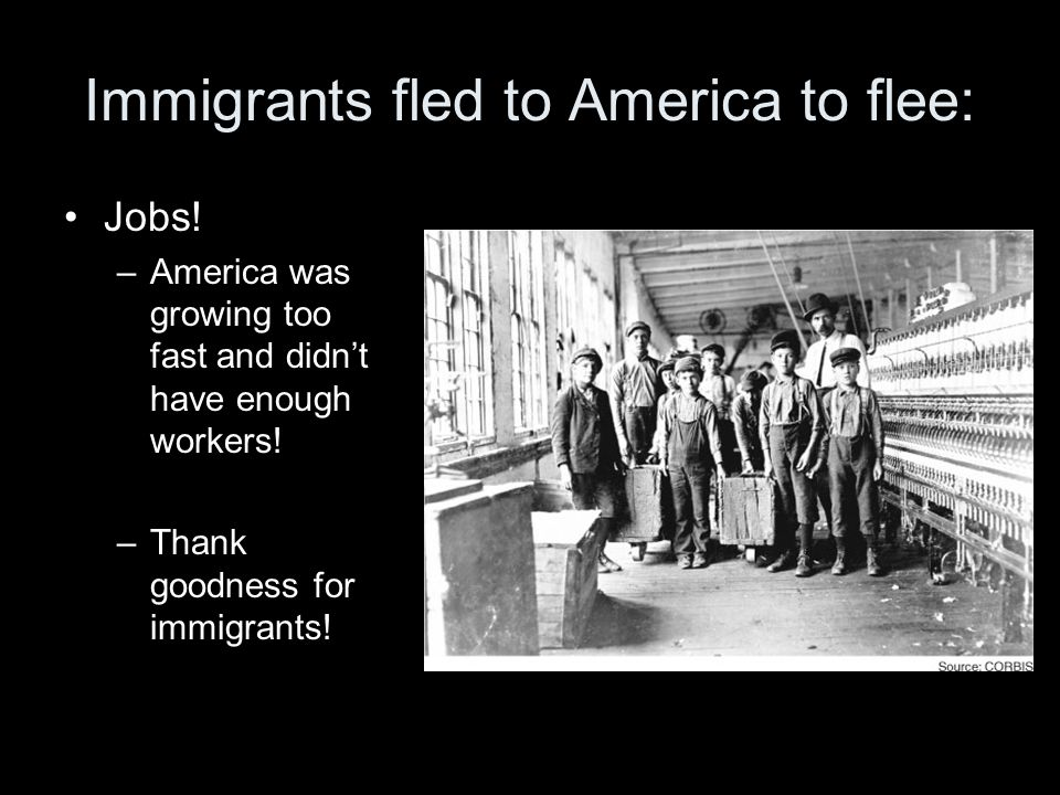 Immigrants fled to America to flee: Jobs.