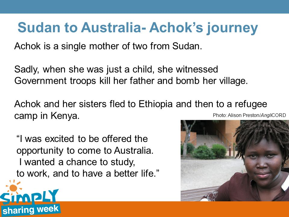 Sudan to Australia- Achok's journey Achok is a single mother of two from Sudan.