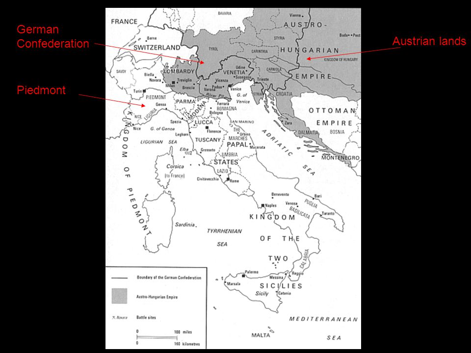 Italy: Failed Unification With chaos in Austria, in 1848 Milan and Venice declared independence Austrian army crushed revolt Pope's minister assassinated, Pope Pius IX fled, Roman Republic declared in former Papal States Louis Napoleon sent French army and restored Pope; Mazzini and Garibaldi fled Failures showed clash between Catholicism and Liberalism Garibaldi