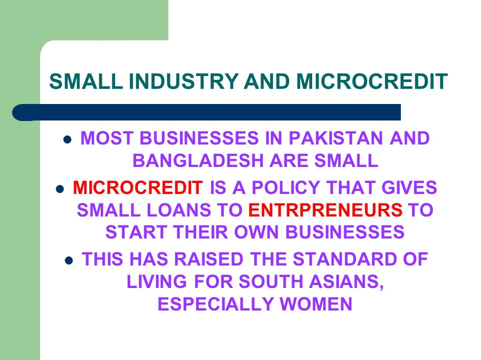 SMALL INDUSTRY AND MICROCREDIT MOST BUSINESSES IN PAKISTAN AND BANGLADESH ARE SMALL MICROCREDIT IS A POLICY THAT GIVES SMALL LOANS TO ENTRPRENEURS TO START THEIR OWN BUSINESSES THIS HAS RAISED THE STANDARD OF LIVING FOR SOUTH ASIANS, ESPECIALLY WOMEN