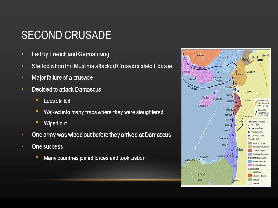 SECOND CRUSADE Led by French and German king Started when the Muslims attacked Crusader state Edessa Major failure of a crusade Decided to attack Damascus Less skilled Walked into many traps where they were slaughtered Wiped out One army was wiped out before they arrived at Damascus One success Many countries joined forces and took Lisbon