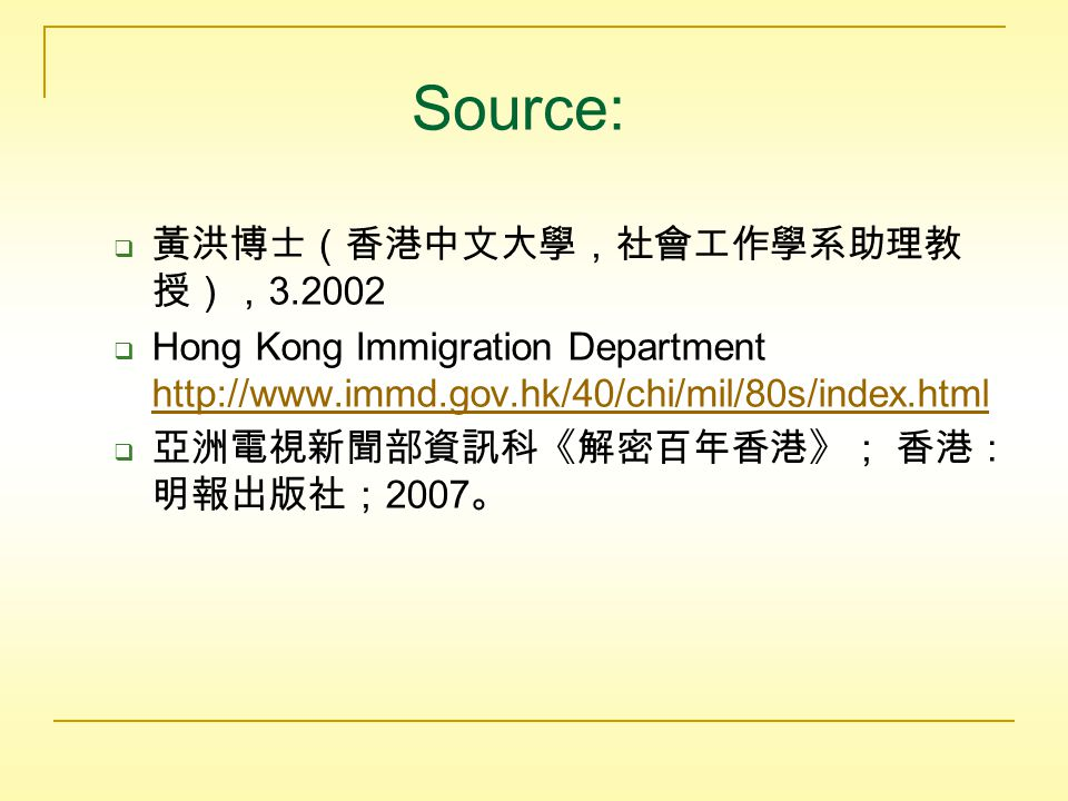  In 1983, the mainland and HK government set a quota of 75 people as legal migrants from the mainland.