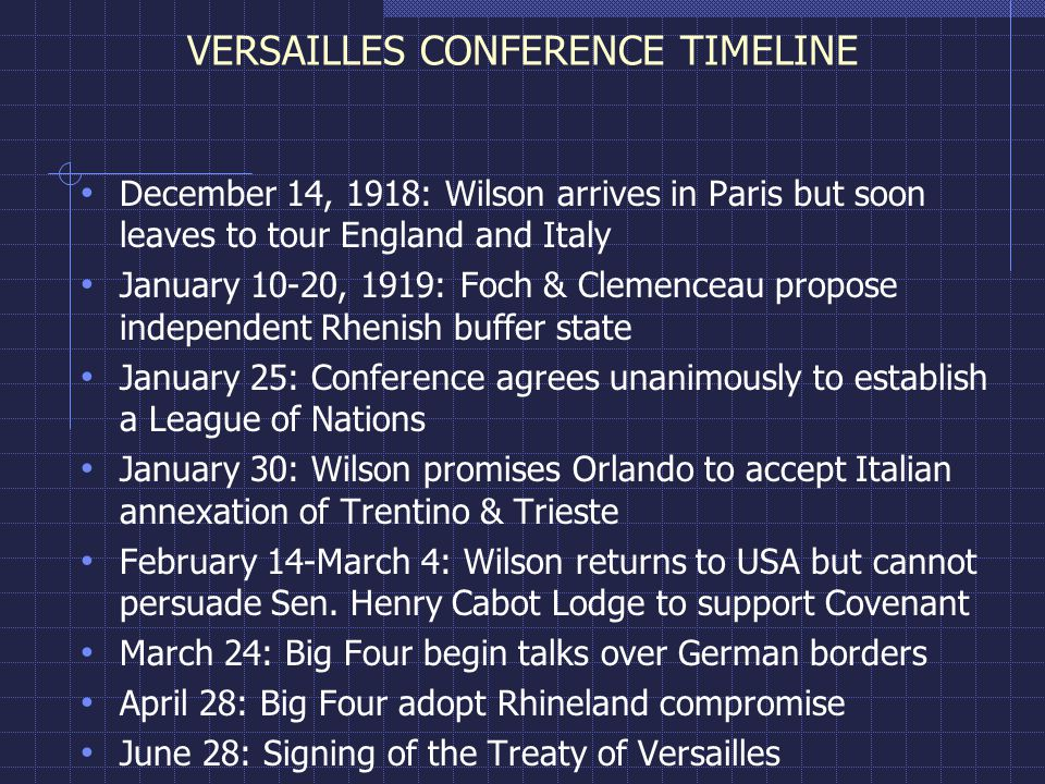 VERSAILLES CONFERENCE TIMELINE December 14, 1918: Wilson arrives in Paris but soon leaves to tour England and Italy January 10-20, 1919: Foch & Clemenceau propose independent Rhenish buffer state January 25: Conference agrees unanimously to establish a League of Nations January 30: Wilson promises Orlando to accept Italian annexation of Trentino & Trieste February 14-March 4: Wilson returns to USA but cannot persuade Sen.