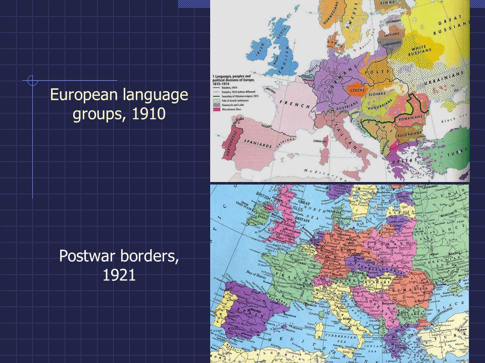 European language groups, 1910 Postwar borders, 1921