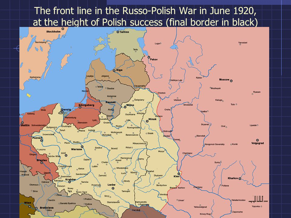 The front line in the Russo-Polish War in June 1920, at the height of Polish success (final border in black)