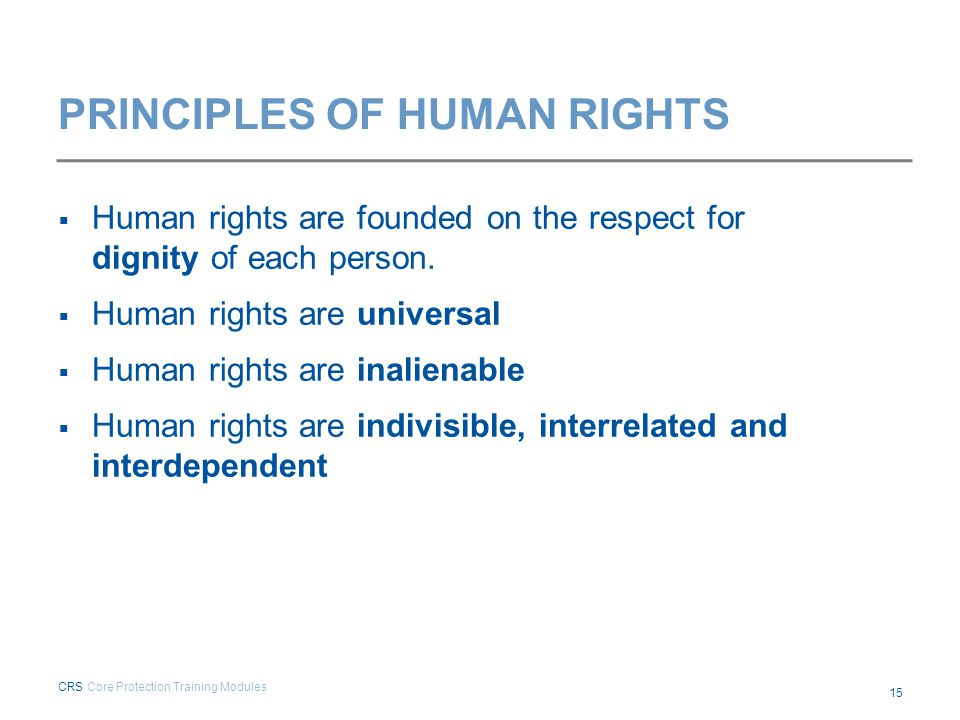 PRINCIPLES OF HUMAN RIGHTS  Human rights are founded on the respect for dignity of each person.  Human rights are universal  Human rights are inali