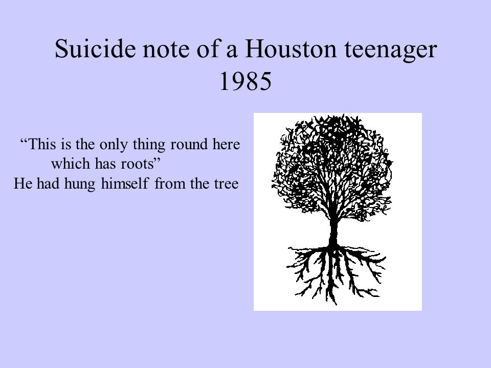 Suicide note of a Houston teenager 1985 This is the only thing round here which has roots He had hung himself from the tree
