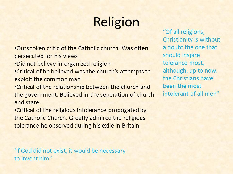 Civil Liberties Believed in freedom of speech, freedom of the press and freedom of religion.