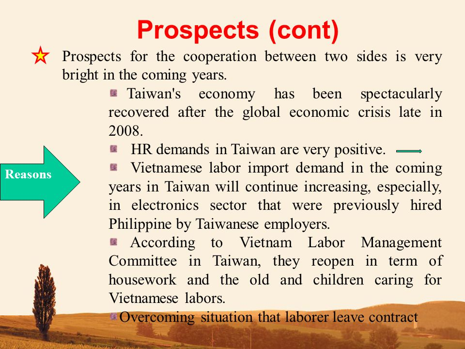 Prospects (cont) Prospects for the cooperation between two sides is very bright in the coming years.