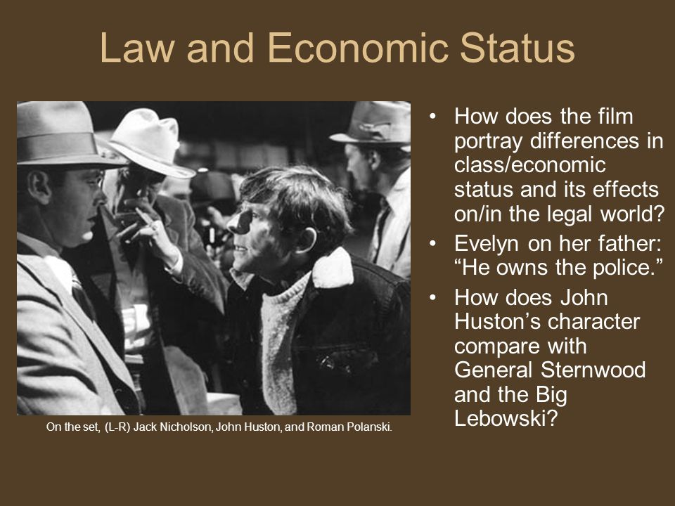 Law and Economic Status How does the film portray differences in class/economic status and its effects on/in the legal world.