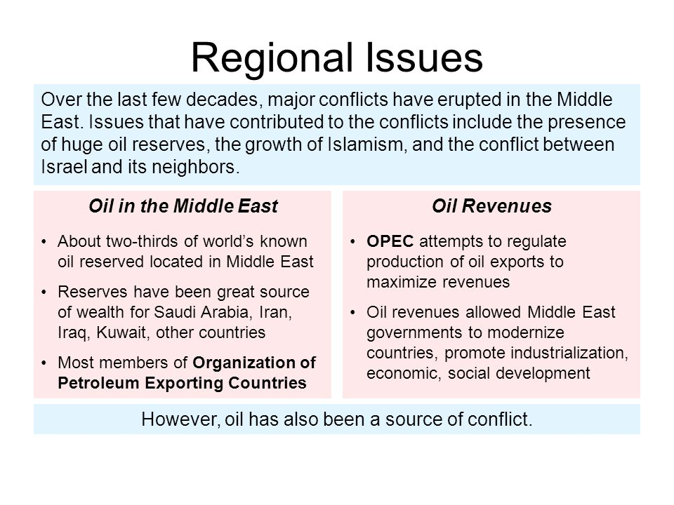 Importance of Oil Oil as source of conflict in Middle East Some governments have used oil revenues to build up military, maintain power, threaten neighbors Oil wealth has caused internal clashes within countries, societies Region's strategic importance as source of oil has led outside nations to become involved in Middle Eastern affairs, politics
