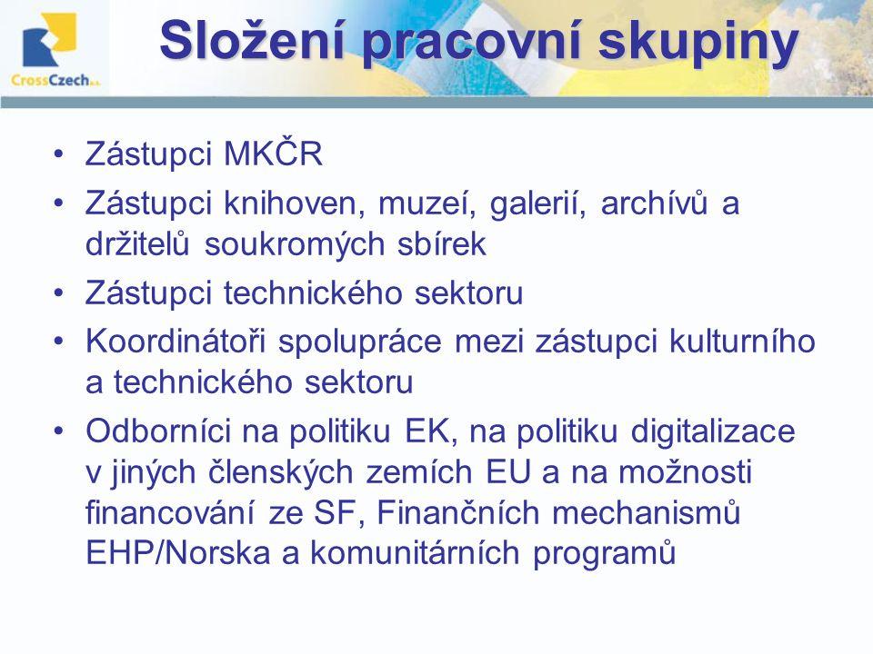 Složení pracovní skupiny Zástupci MKČR Zástupci knihoven, muzeí, galerií, archívů a držitelů soukromých sbírek Zástupci technického sektoru Koordinátoři spolupráce mezi zástupci kulturního a technického sektoru Odborníci na politiku EK, na politiku digitalizace v jiných členských zemích EU a na možnosti financování ze SF, Finančních mechanismů EHP/Norska a komunitárních programů