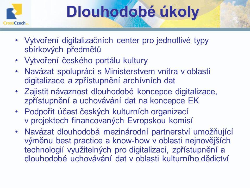 Dlouhodobé úkoly Vytvoření digitalizačních center pro jednotlivé typy sbírkových předmětů Vytvoření českého portálu kultury Navázat spolupráci s Ministerstvem vnitra v oblasti digitalizace a zpřístupnění archívních dat Zajistit návaznost dlouhodobé koncepce digitalizace, zpřístupnění a uchovávání dat na koncepce EK Podpořit účast českých kulturních organizací v projektech financovaných Evropskou komisí Navázat dlouhodobá mezinárodní partnerství umožňující výměnu best practice a know-how v oblasti nejnovějších technologií využitelných pro digitalizaci, zpřístupnění a dlouhodobé uchovávání dat v oblasti kulturního dědictví