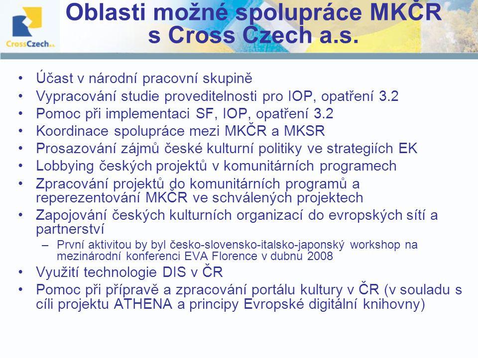 Oblasti možné spolupráce MKČR s Cross Czech a.s.