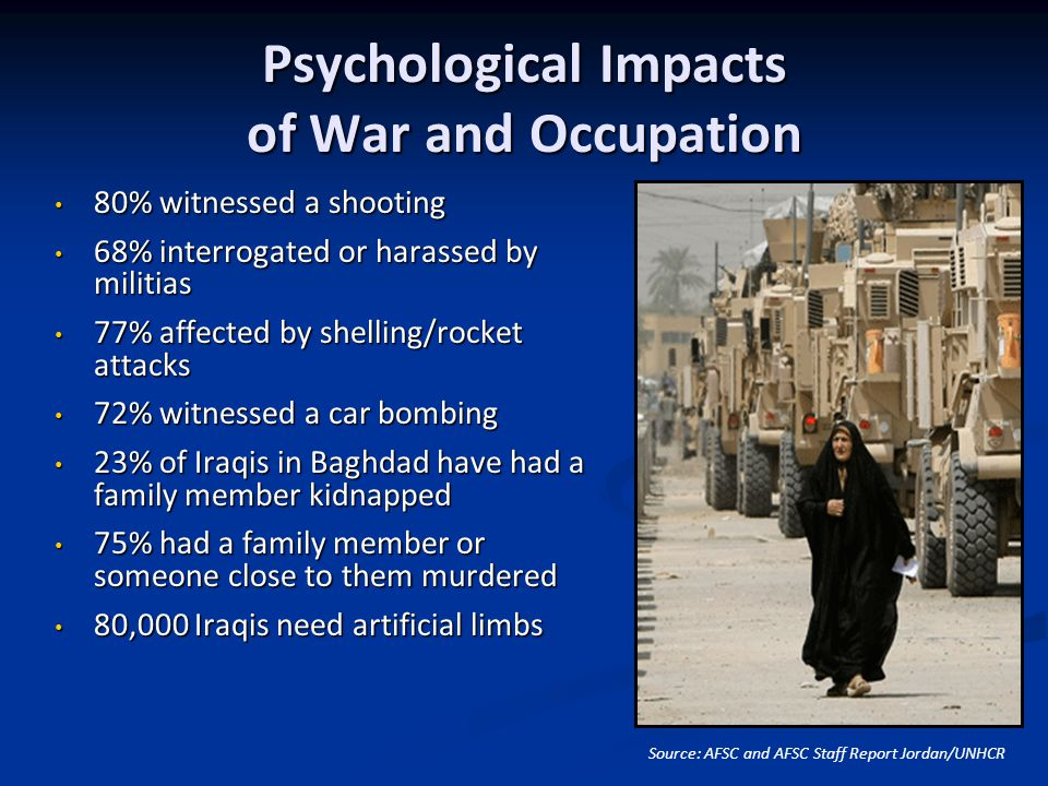 Psychological Impacts of War and Occupation Source: AFSC and AFSC Staff Report Jordan/UNHCR 80% witnessed a shooting 80% witnessed a shooting 68% interrogated or harassed by militias 68% interrogated or harassed by militias 77% affected by shelling/rocket attacks 77% affected by shelling/rocket attacks 72% witnessed a car bombing 72% witnessed a car bombing 23% of Iraqis in Baghdad have had a family member kidnapped 23% of Iraqis in Baghdad have had a family member kidnapped 75% had a family member or someone close to them murdered 75% had a family member or someone close to them murdered 80,000 Iraqis need artificial limbs 80,000 Iraqis need artificial limbs