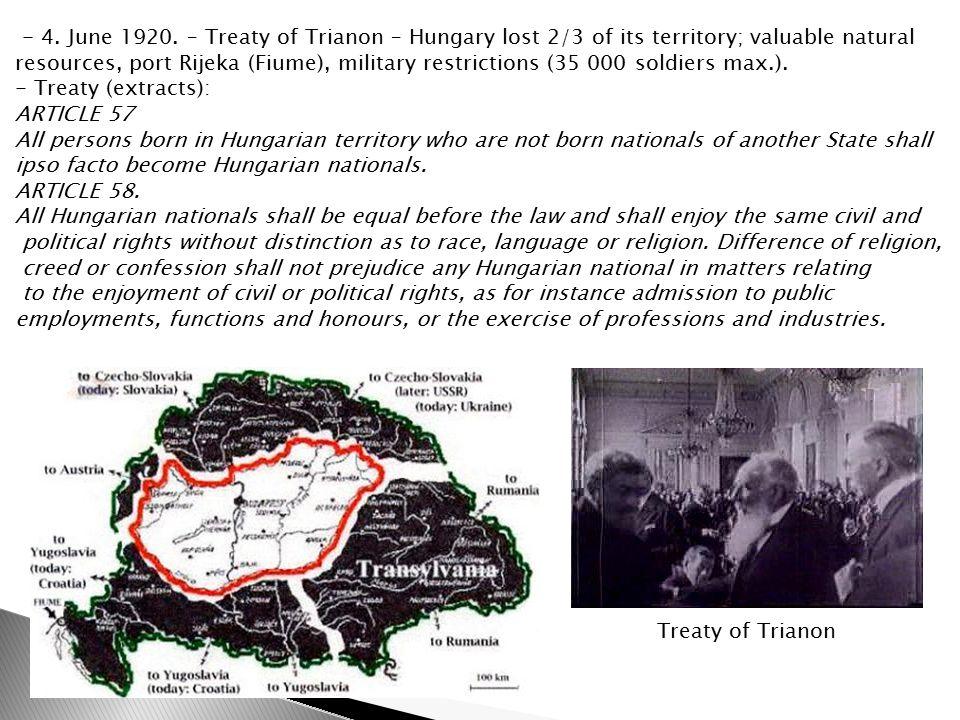 Treaty of Trianon - 4. June 1920.