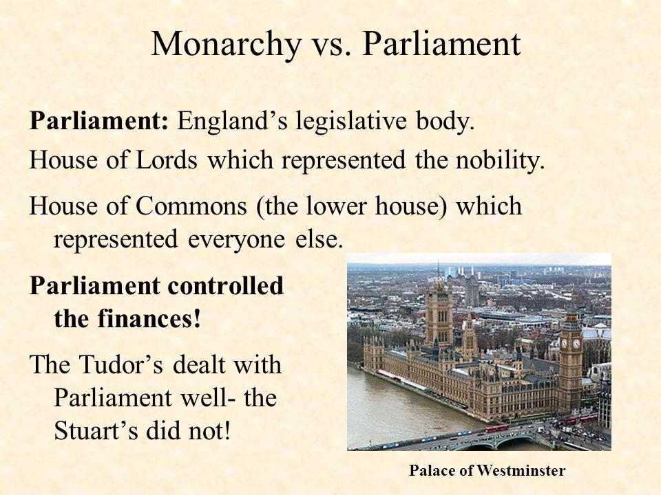 Monarchy vs. Parliament Parliament: England's legislative body.