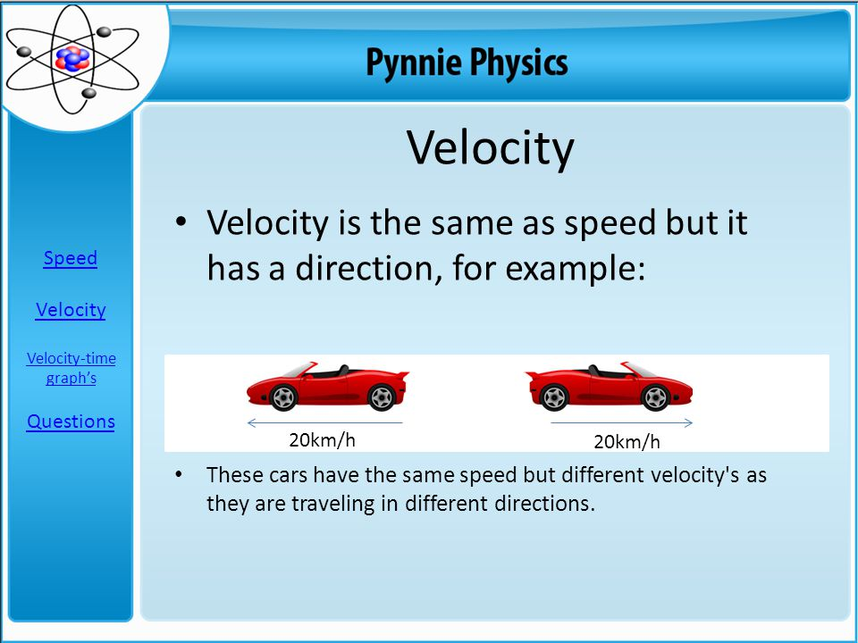 Velocity is the same as speed but it has a direction, for example: These cars have the same speed but different velocity's as they are traveling in di