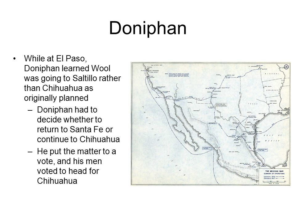 Doniphan Defending Chihuahua was General Garcia Conde and a force of 1,500 infantry, 1,200 cavalry, and 119 artillerymen Doniphan had 924 soldiers plus a train of 315 wagons full of traders, teamsters, and their supplies In fierce hand-to-hand fighting, Doniphan defeated Conde at the Battle of Sacramento on February 28 and took possession of Chihuahua on March 1