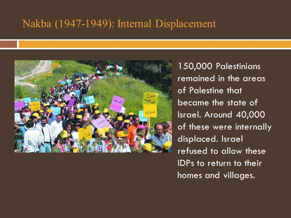 Nakba (1947-1949): Internal Displacement 150,000 Palestinians remained in the areas of Palestine that became the state of Israel.