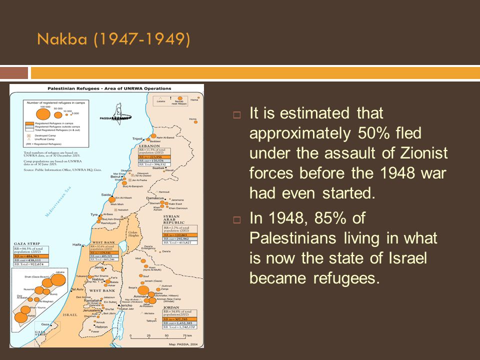Nakba (1947-1949)  It is estimated that approximately 50% fled under the assault of Zionist forces before the 1948 war had even started.