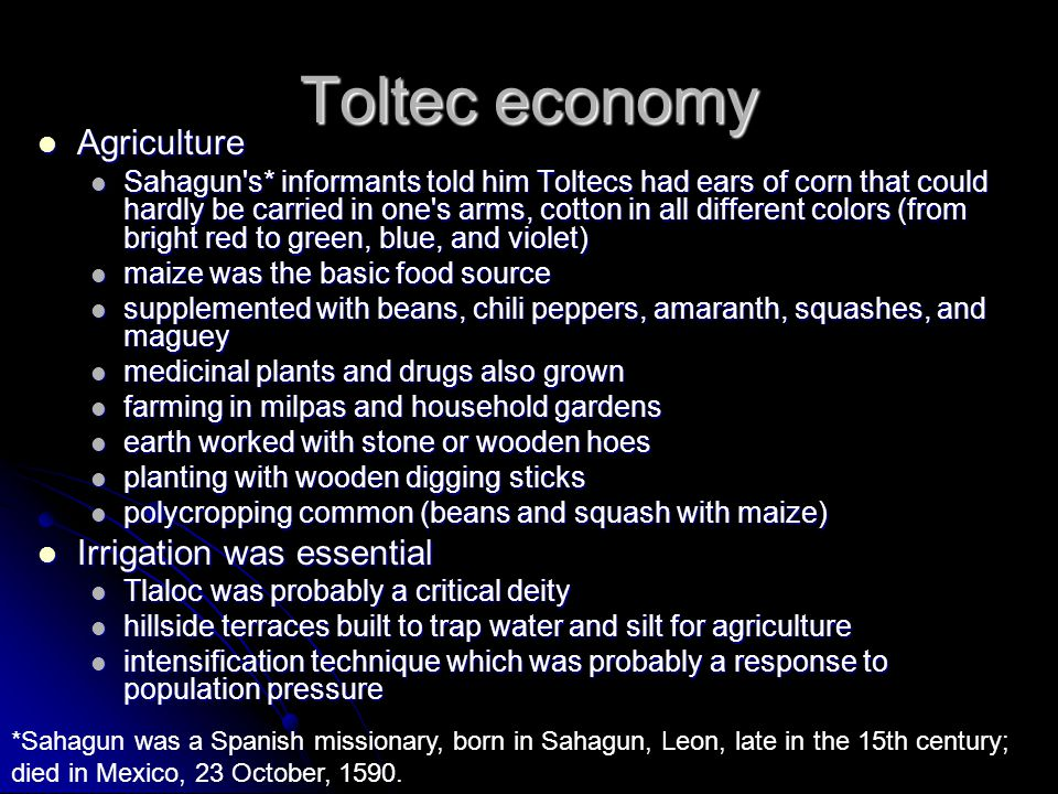 Toltec economy Agriculture Agriculture Sahagun's* informants told him Toltecs had ears of corn that could hardly be carried in one's arms, cotton in a