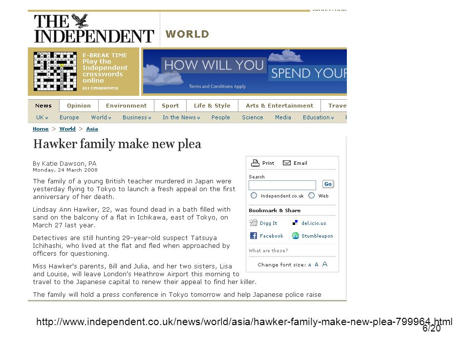 6/20 http://www.independent.co.uk/news/world/asia/hawker-family-make-new-plea-799964.html