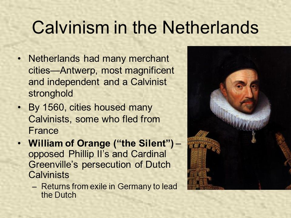 Calvinism in the Netherlands Netherlands had many merchant cities—Antwerp, most magnificent and independent and a Calvinist stronghold By 1560, cities