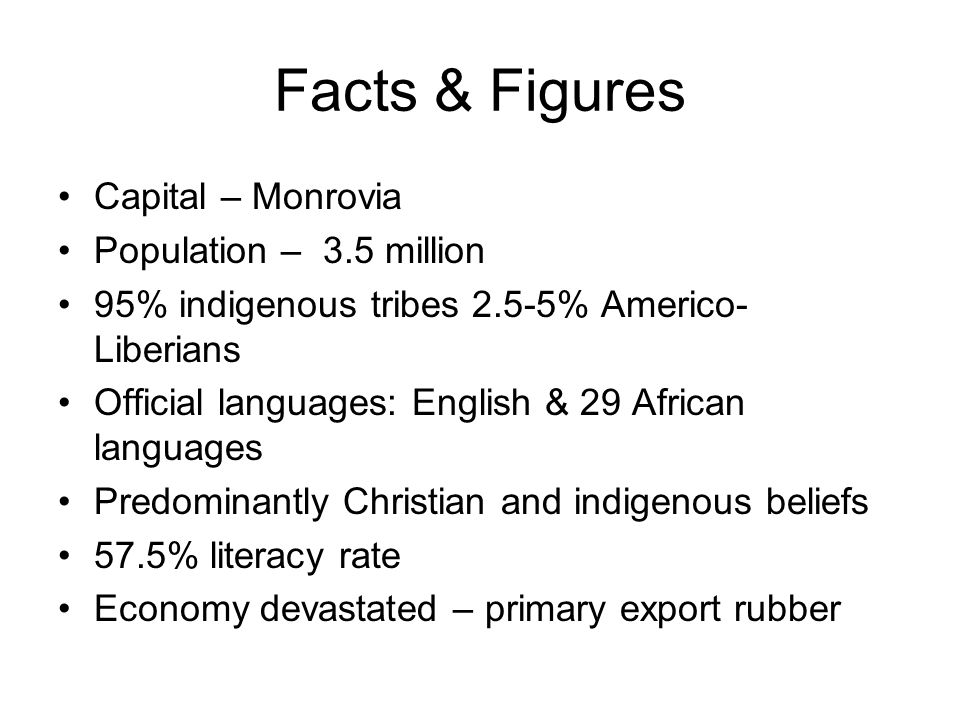 Facts & Figures Capital – Monrovia Population – 3.5 million 95% indigenous tribes 2.5-5% Americo- Liberians Official languages: English & 29 African languages Predominantly Christian and indigenous beliefs 57.5% literacy rate Economy devastated – primary export rubber