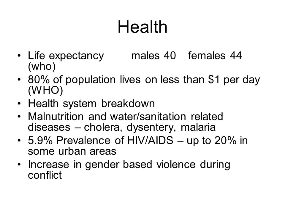 Health Life expectancy males 40 females 44 (who) 80% of population lives on less than $1 per day (WHO) Health system breakdown Malnutrition and water/sanitation related diseases – cholera, dysentery, malaria 5.9% Prevalence of HIV/AIDS – up to 20% in some urban areas Increase in gender based violence during conflict