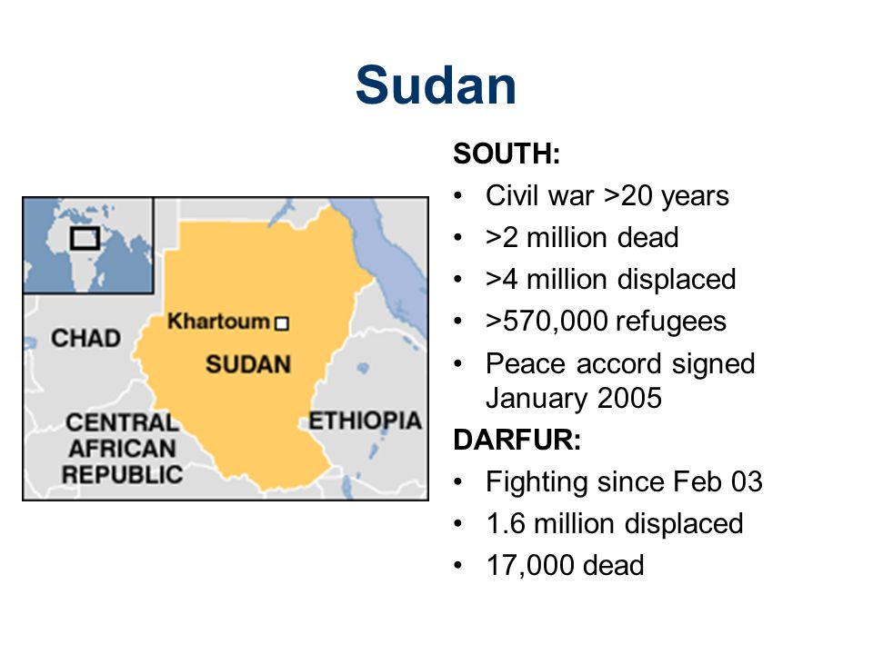 Sudan SOUTH: Civil war >20 years >2 million dead >4 million displaced >570,000 refugees Peace accord signed January 2005 DARFUR: Fighting since Feb 03 1.6 million displaced 17,000 dead