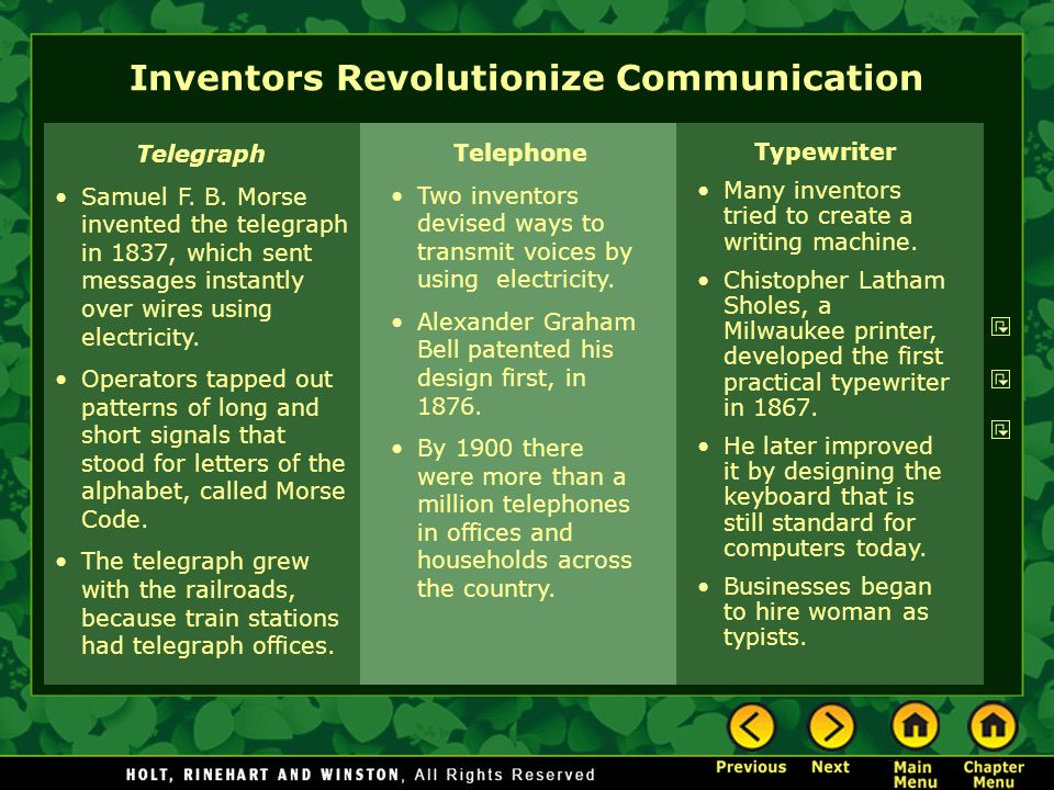 Telegraph Samuel F. B. Morse invented the telegraph in 1837, which sent messages instantly over wires using electricity. Operators tapped out patterns