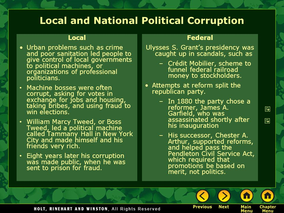 Local and National Political Corruption Local Urban problems such as crime and poor sanitation led people to give control of local governments to poli