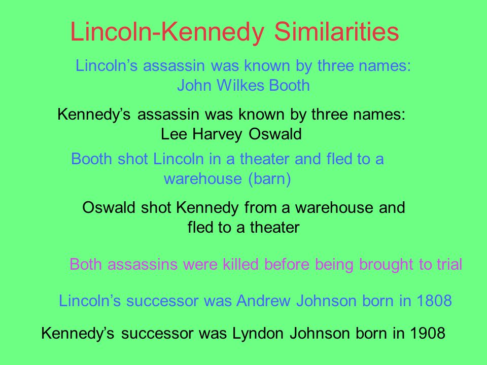 Lincoln's assassin was known by three names: John Wilkes Booth Kennedy's assassin was known by three names: Lee Harvey Oswald Booth shot Lincoln in a