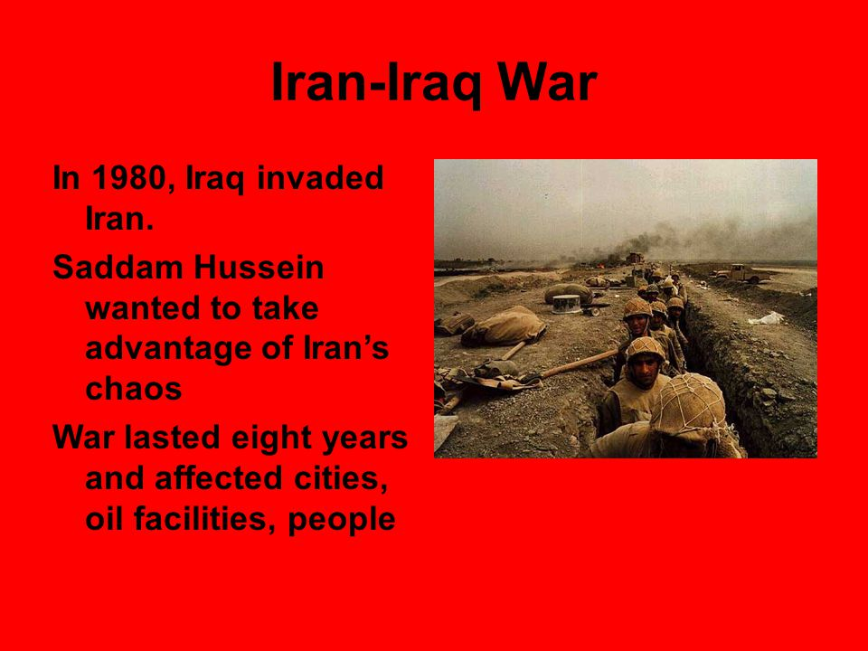 Iran-Iraq War Each country maintained an army of 600,000 To keep forces staffed, both sides enlisted boys as young as 11 or 12 years old Each side claimed this as a holy war. Cease-fire was declared in 1988