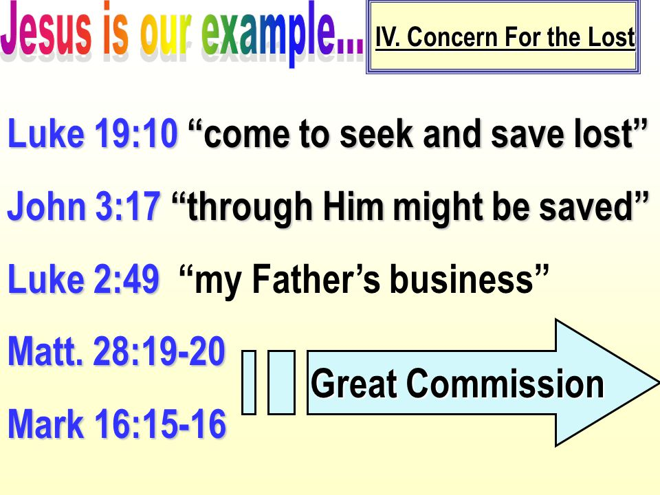 """IV. Concern For the Lost Luke 19:10 """"come to seek and save lost"""" John 3:17 """"through Him might be saved"""" Luke 2:49 Luke 2:49 """"my Father's business"""" Mat"""