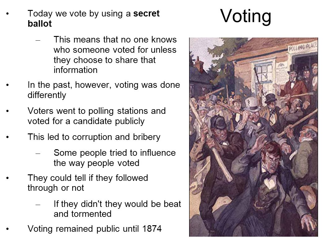 Voting Today we vote by using a secret ballot – This means that no one knows who someone voted for unless they choose to share that information In the