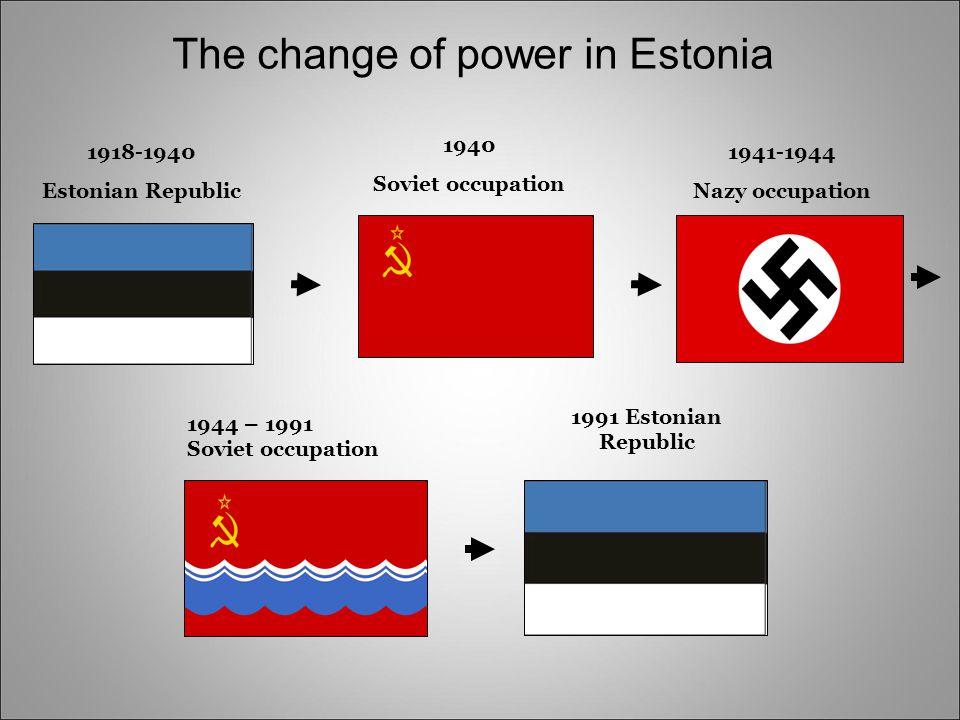 1918-1940 Estonian Republic 1940 Soviet occupation 1941-1944 Nazy occupation 1944 – 1991 Soviet occupation 1991 Estonian Republic The change of power in Estonia