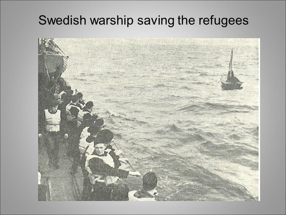 Swedish warship saving the refugees