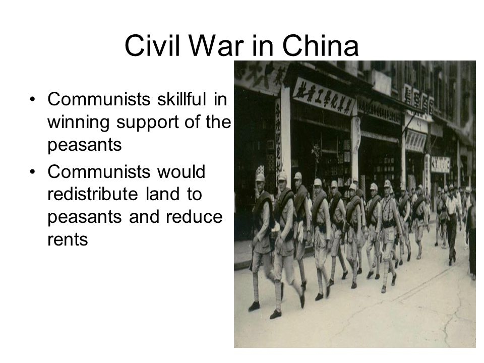 Fighting Breaks Out As soon as Japanese left China-civil war resumed Americans favored the nationalists because they opposed communists 1944 to 47 US tried to make peacemaker between 2 groups- while still supporting nationalists