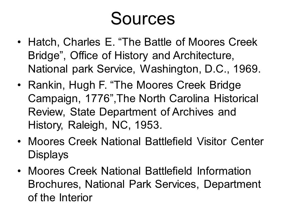 Sources Hatch, Charles E.