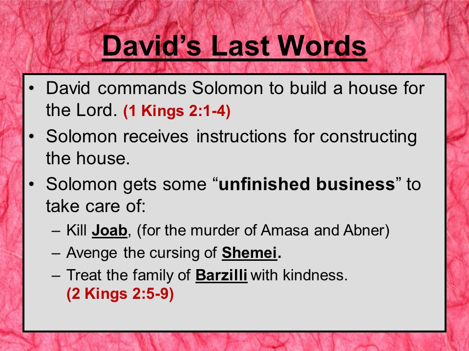 David commands Solomon to build a house for the Lord.