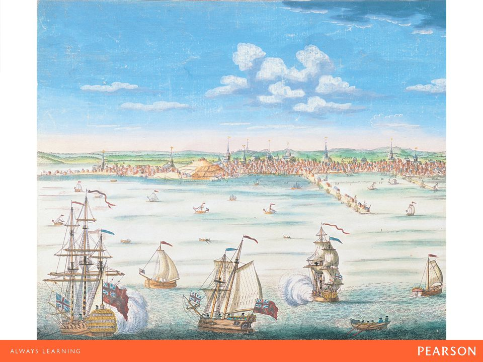 Boston Harbor This engraving of a work by William Burgis depicts the port of Boston at mid- century.