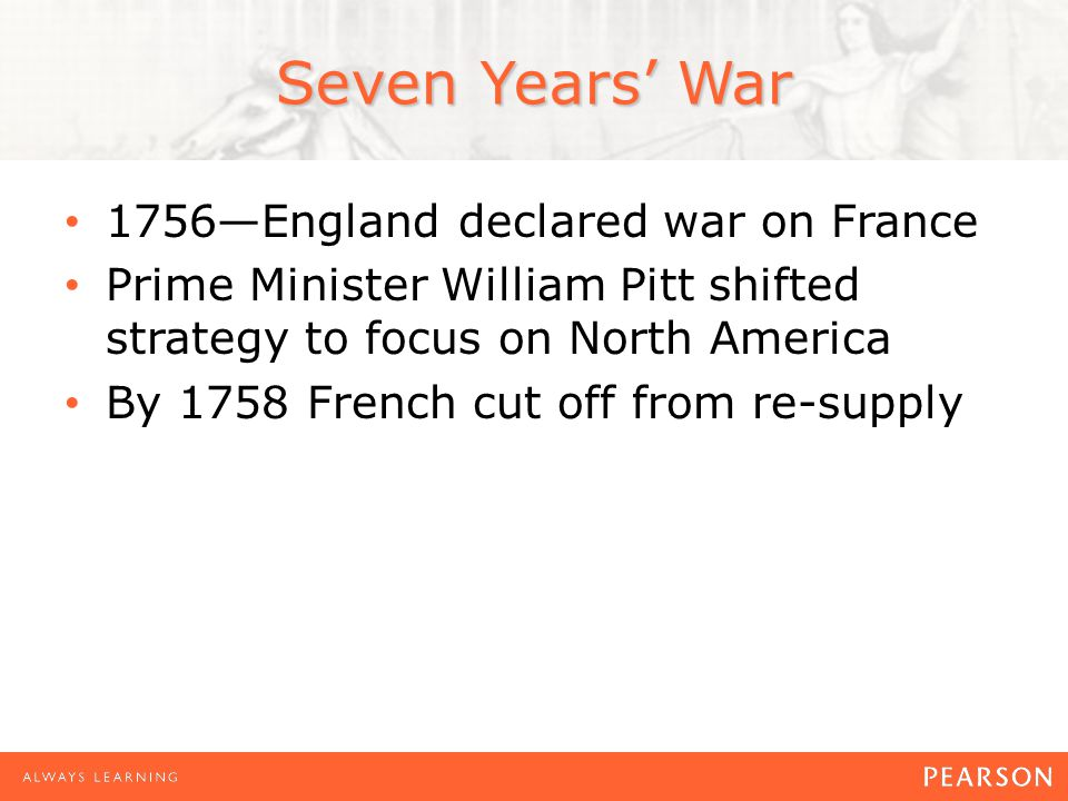 Seven Years' War 1756—England declared war on France Prime Minister William Pitt shifted strategy to focus on North America By 1758 French cut off from re-supply