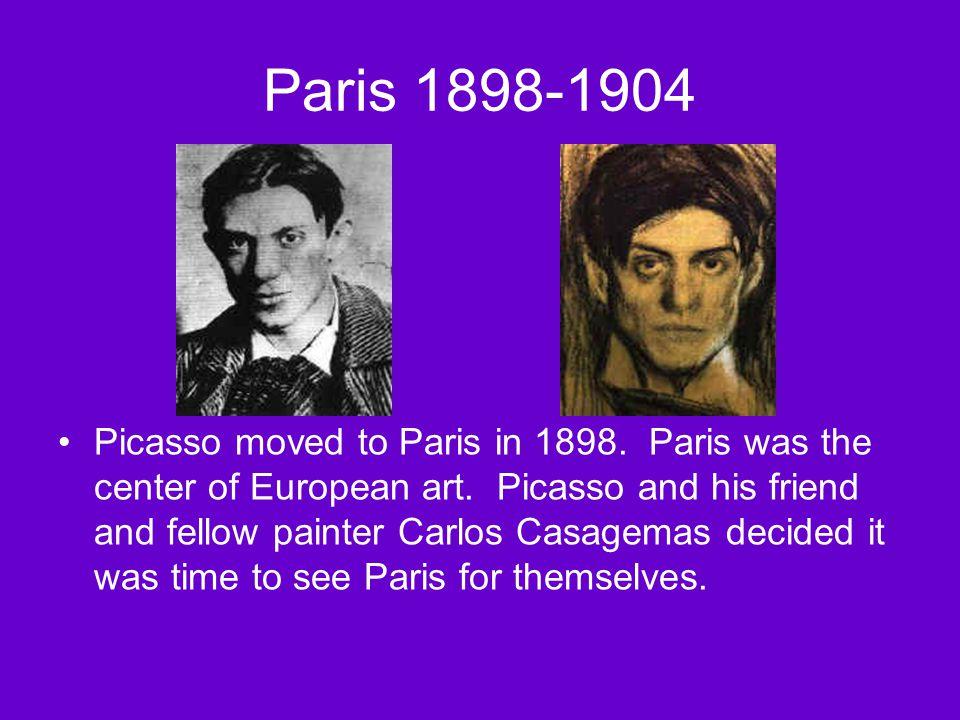 Paris 1898-1904 Picasso moved to Paris in 1898.Paris was the center of European art.