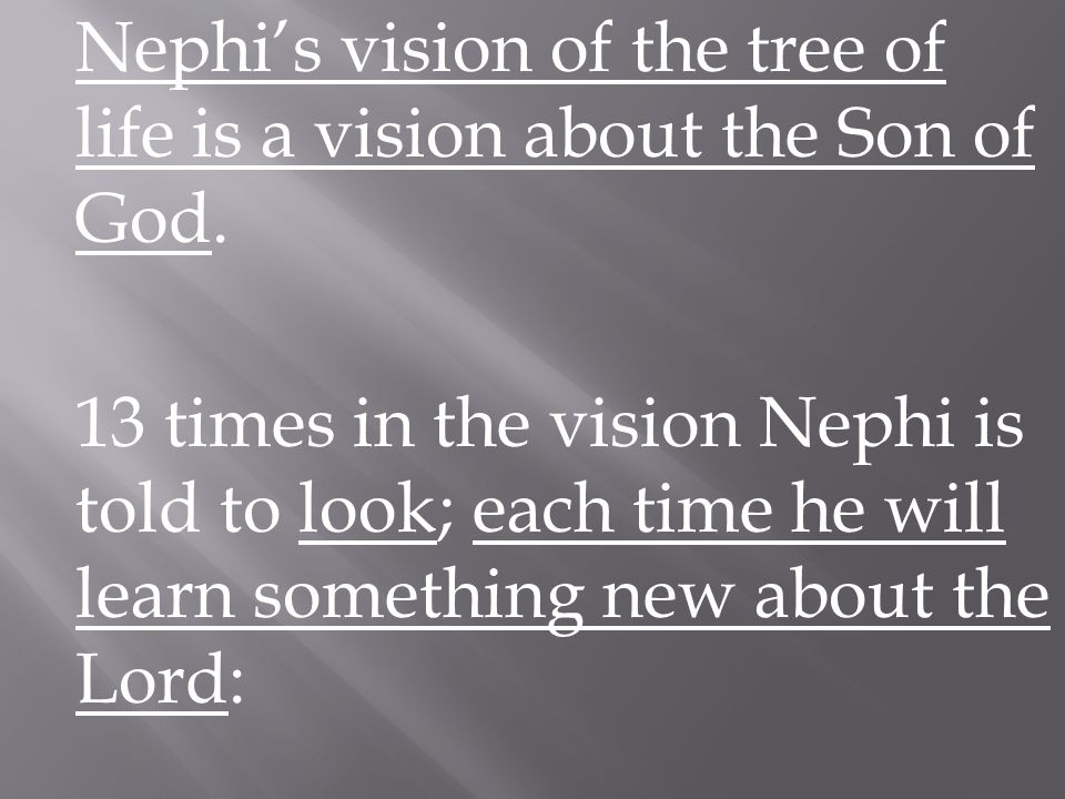 Look #1 I Nephi 11:8-10 The white fruit of the tree was precious above all.