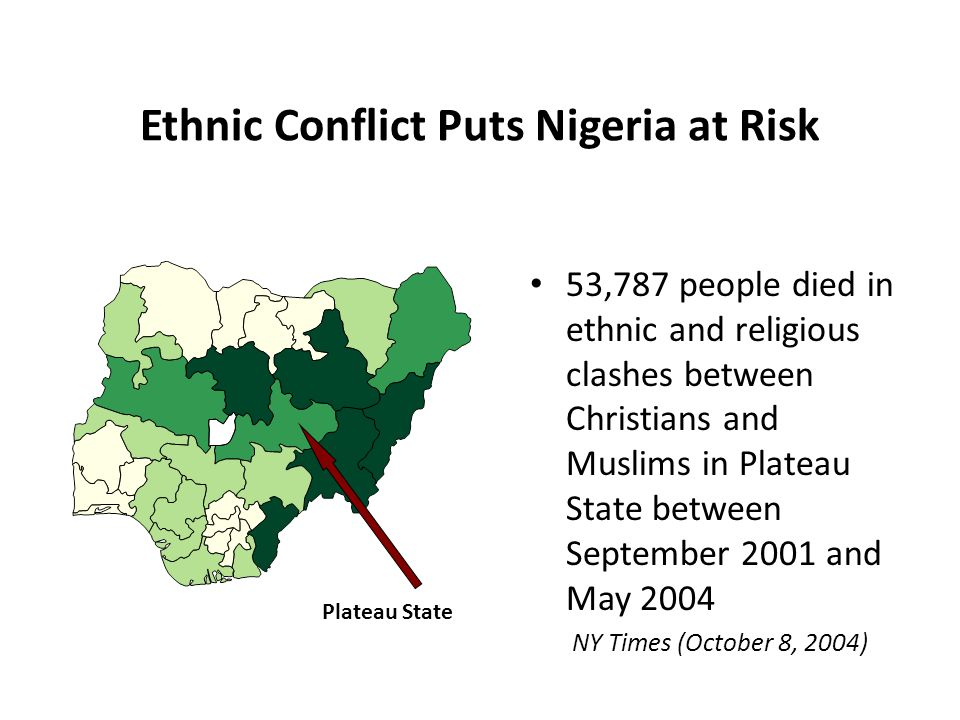 Ethnic Conflict Puts Nigeria at Risk 53,787 people died in ethnic and religious clashes between Christians and Muslims in Plateau State between September 2001 and May 2004 NY Times (October 8, 2004) Plateau State