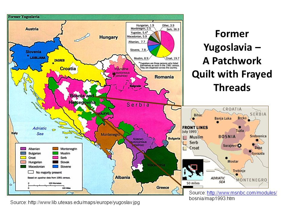 Former Yugoslavia – A Patchwork Quilt with Frayed Threads Source: http://www.lib.utexas.edu/maps/europe/yugoslav.jpg Source: http://www.msnbc.com/modules/ bosnia/map1993.htmhttp://www.msnbc.com/modules/
