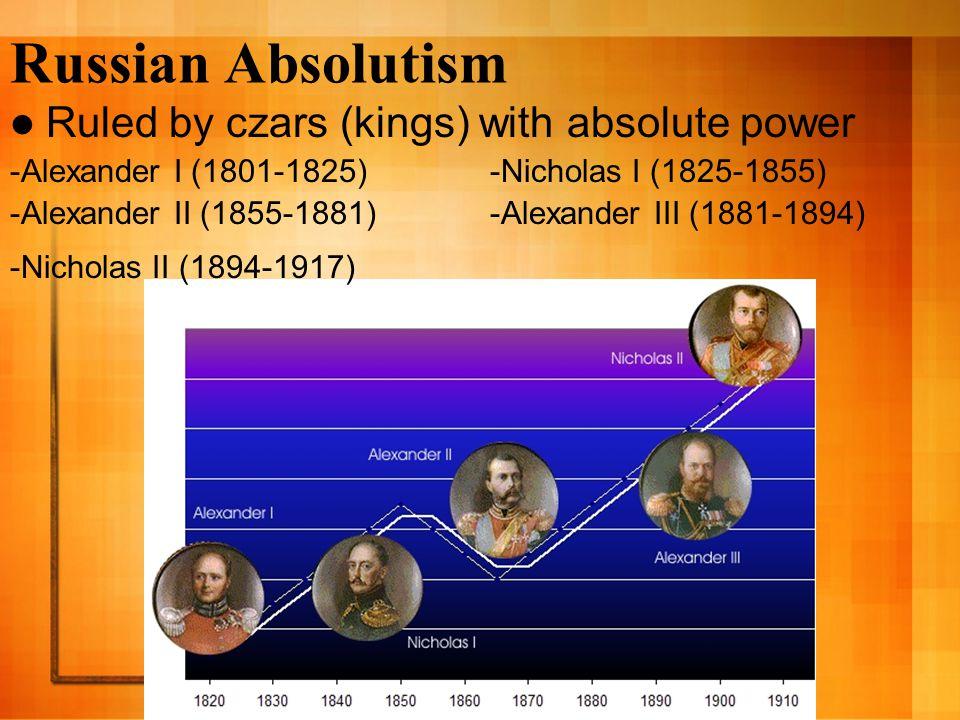 Russian Absolutism Ruled by czars (kings) with absolute power -Alexander I (1801-1825)-Nicholas I (1825-1855) -Alexander II (1855-1881)-Alexander III